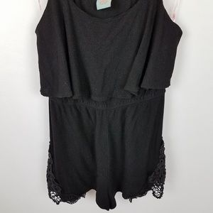 FLYING TOMATOES Black Strappy Romper Size Small